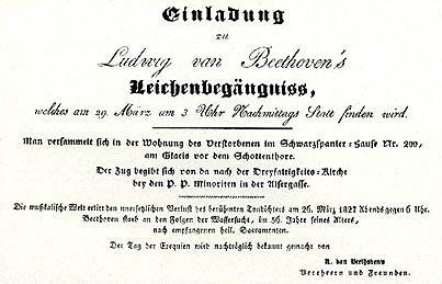 Sehen Sie hier ein Bild der originalen Einladung zum Leichenbegängnis.